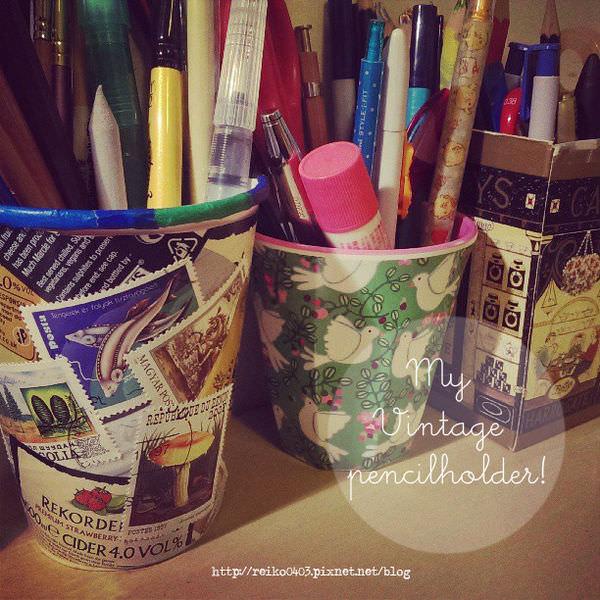 超簡單改造紙杯之復古拼貼小筆筒!